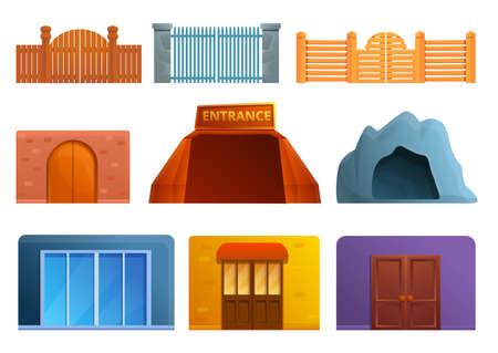 Entrance icons set, cartoon style