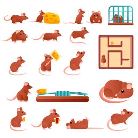 Rat icons set, cartoon style