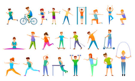 Outdoor fitness icons set, cartoon style