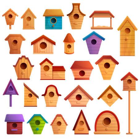 Bird house icons set, cartoon style