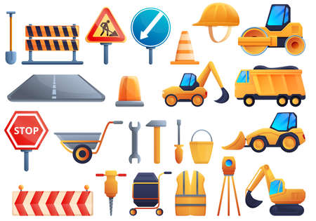 Road repair icons set, cartoon style