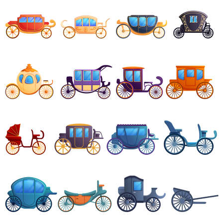 Brougham icons set, cartoon style