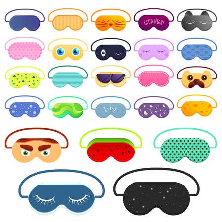 Sleeping mask icons set, cartoon style