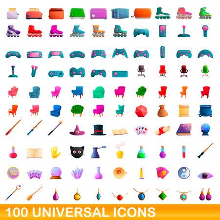 100 universal icons set, cartoon style Reklamní fotografie