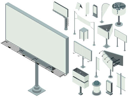 Outdoor advertising icons set, isometric style Banque d'images