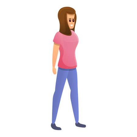 Adolescent girl icon, cartoon style Stockfoto