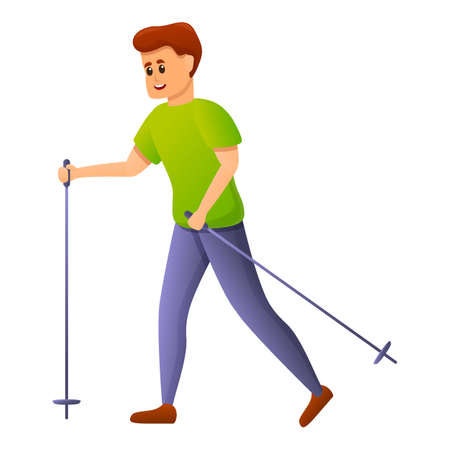 Boy walking sticks icon, cartoon style