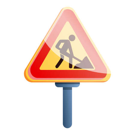 Road repair sign icon, cartoon style Imagens