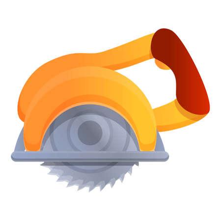 Circular saw icon, cartoon style