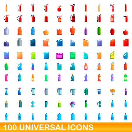 100 universal icons set, cartoon style Фото со стока