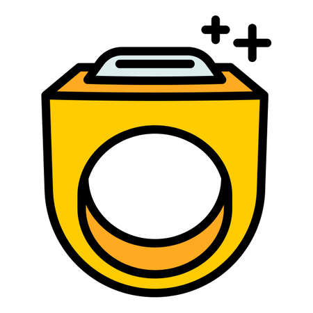 Gold hiphop ring icon, outline style