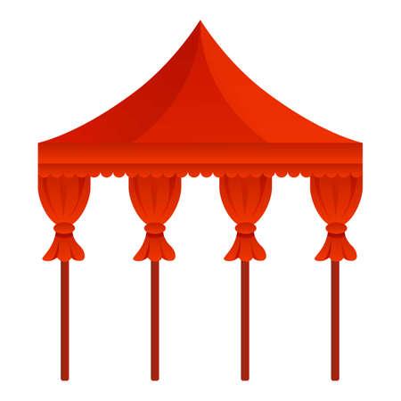 Red wedding gazebo icon, cartoon style