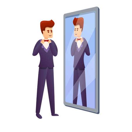 Groom in mirror icon, cartoon style