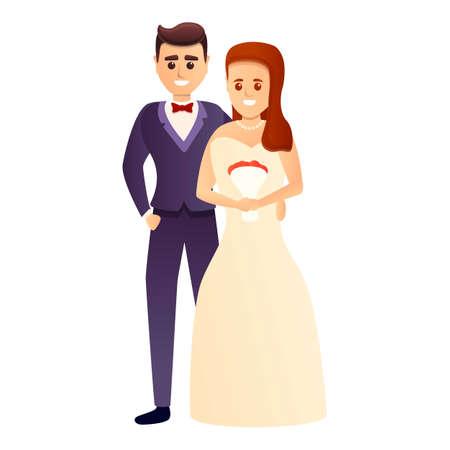 Groom bride couple icon, cartoon style