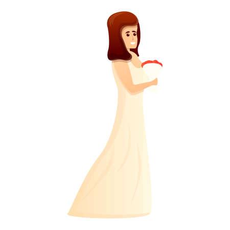 Happy bride icon, cartoon style
