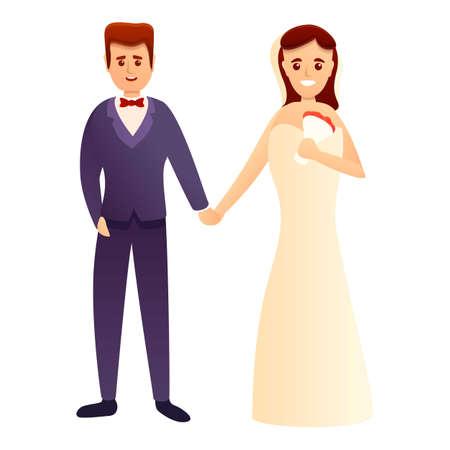Happy wedding couple icon, cartoon style