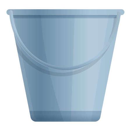 Sauna steel bucket icon, cartoon style