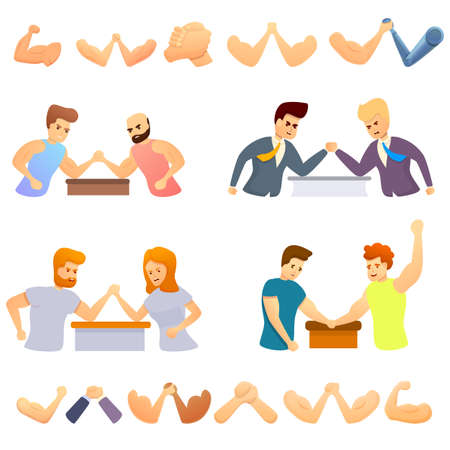 Arm wrestling icons set, cartoon style