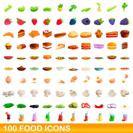 100 food icons set, cartoon style