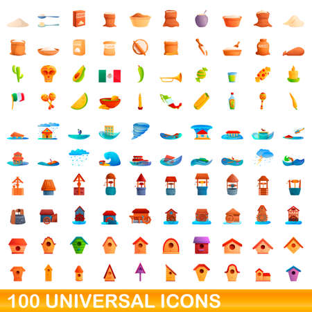 100 universal icons set, cartoon style 版權商用圖片