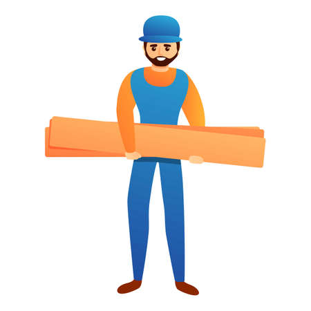 Repairman with wood bar icon, cartoon style