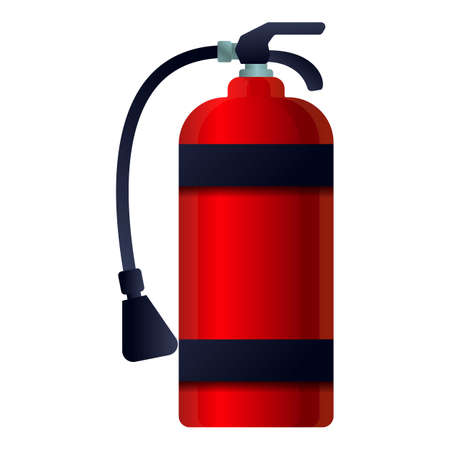 Red fire extinguisher icon, cartoon style