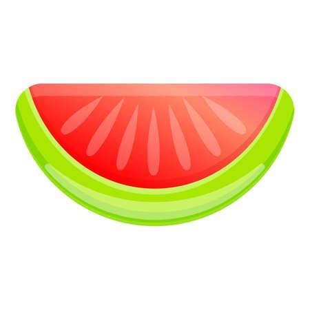 Watermelon slice inflatable mattress icon, cartoon style