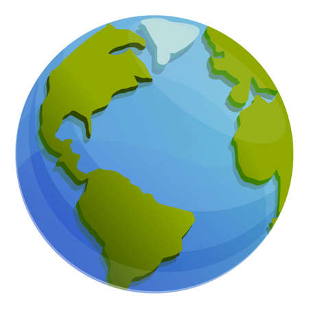 Geodesy globe icon, cartoon style