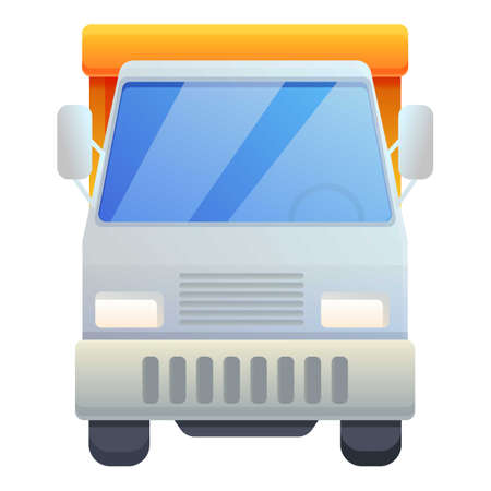 Front view tipper icon, cartoon style