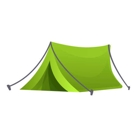 Eco camping tent icon, cartoon style