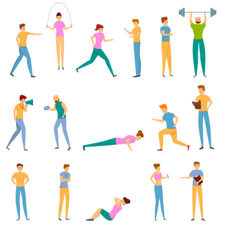 Personal trainer icons set, cartoon style Stockfoto
