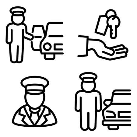 Valet icons set, outline style Stock Photo