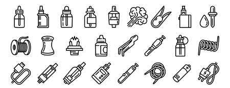 Electronic cigarette icons set, outline style