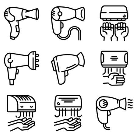Dryer icons set, outline style