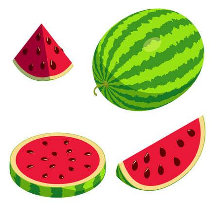 Watermelon icons set, isometric style