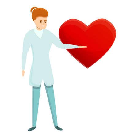 Cardiologist show heart construction icon, cartoon style 版權商用圖片