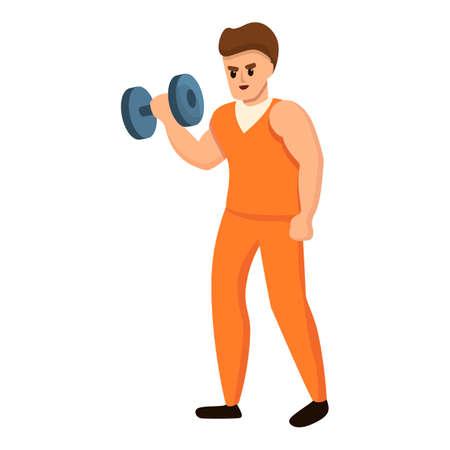 Prison man dumbbell icon, cartoon style