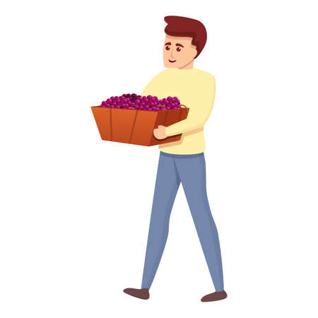 Boy with grapes box icon, cartoon style Imagens