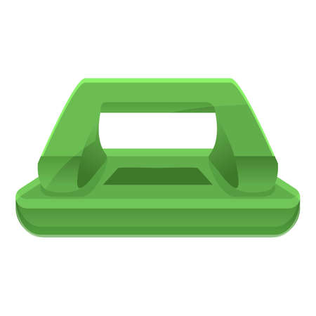 Green hole puncher icon, cartoon style Stok Fotoğraf