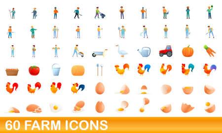 60 farm icons set, cartoon style