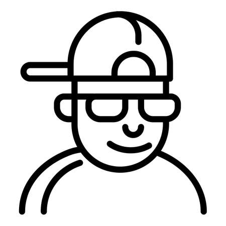 Hiphop man icon, outline style Stock Photo