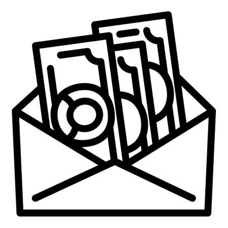Envelope money cash icon, outline style 版權商用圖片