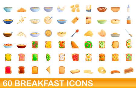 60 breakfast icons set, cartoon style