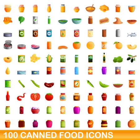 100 canned food icons set, cartoon style