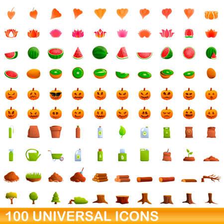 100 universal icons set, cartoon style Stock fotó