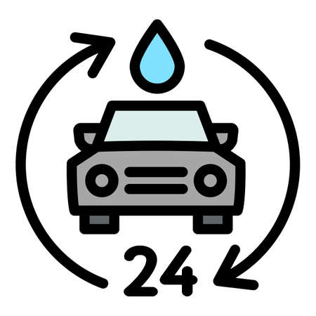 24 hour car wash icon, outline style