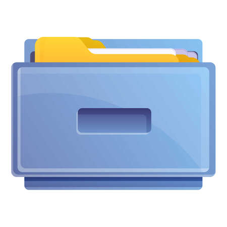 Metal drawer documents icon, cartoon style