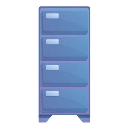 Drawer document stand icon, cartoon style