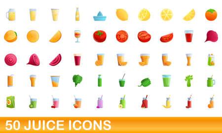50 juice icons set, cartoon style
