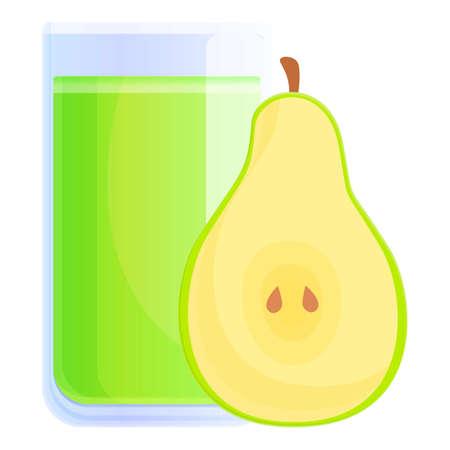 Pear juice glass icon, cartoon style